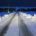 干拓地の雪道
